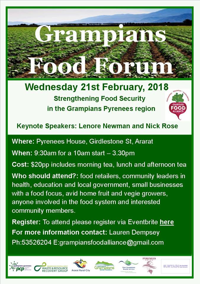 Food Forum flyer with details of forum