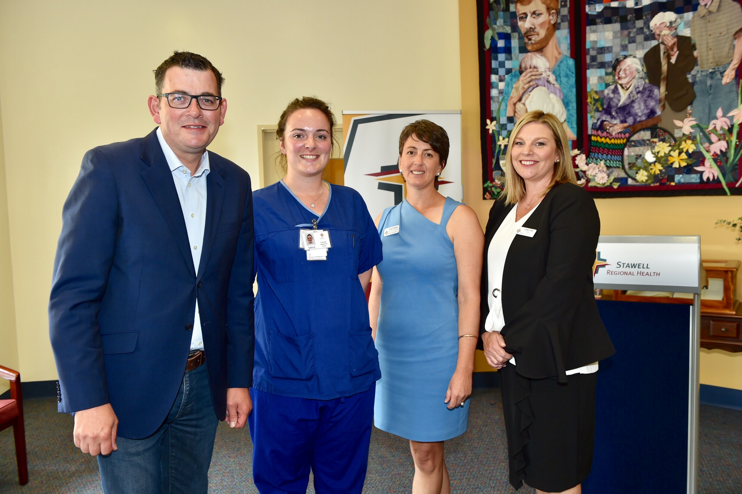 Premier Andrews with Graduate Nurse Dayle Boyd, Director of Clinical Services Robyn Wilson and Acting CEO Libby Fifis
