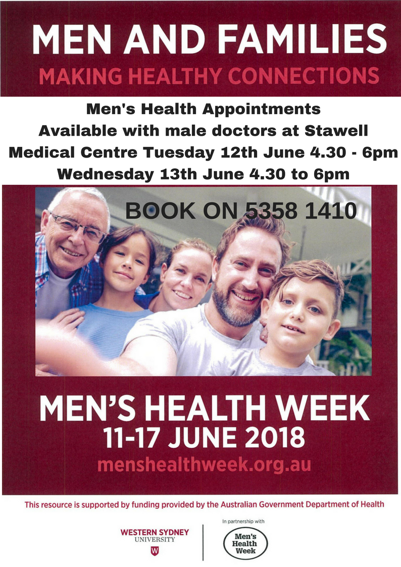 Men's Health appointments available with male doctor 12th and 13th June between 4.30 and 6pm