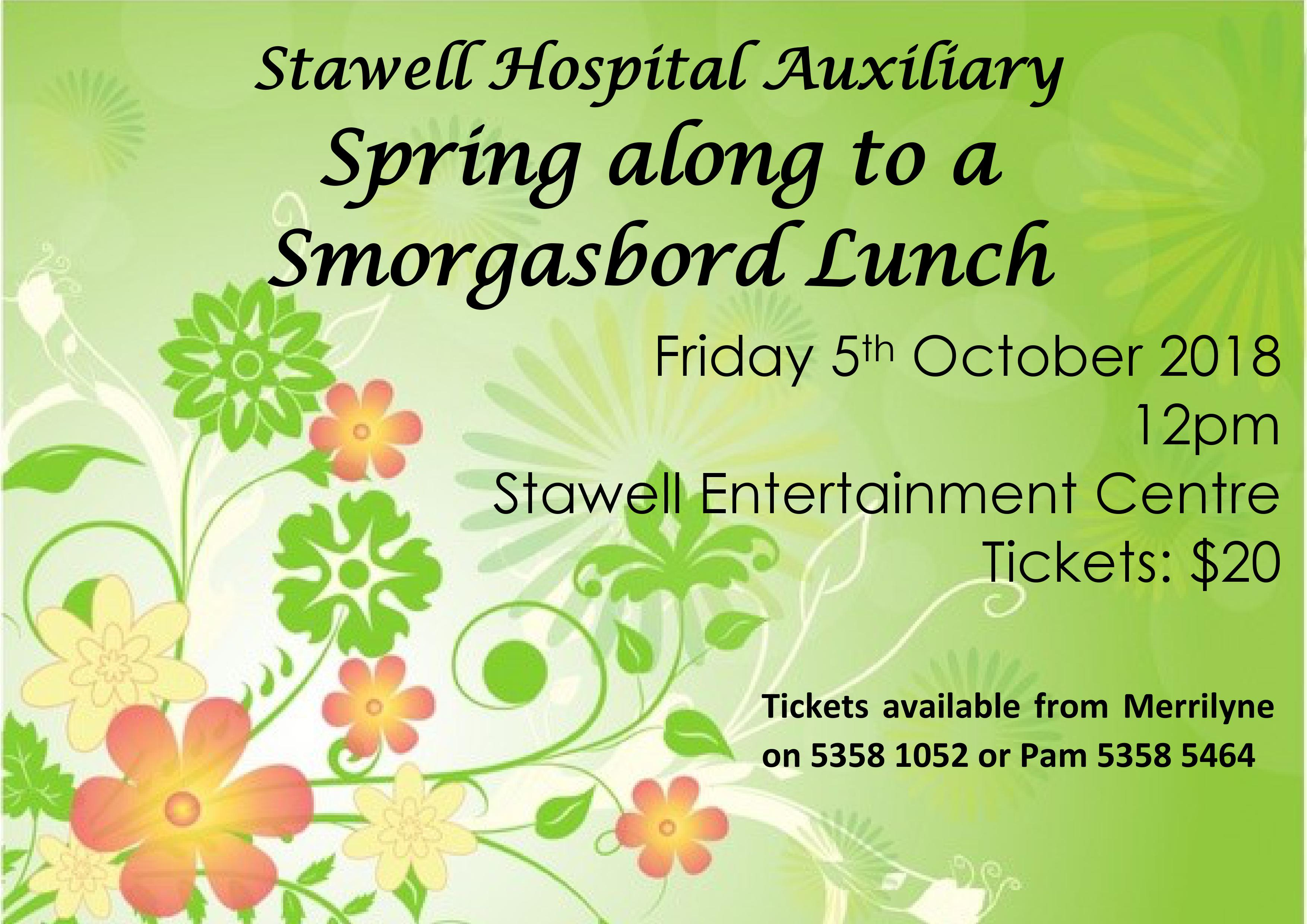 Poster for Spring Along to a Smorgasbord lunch 5th October 12 noon
