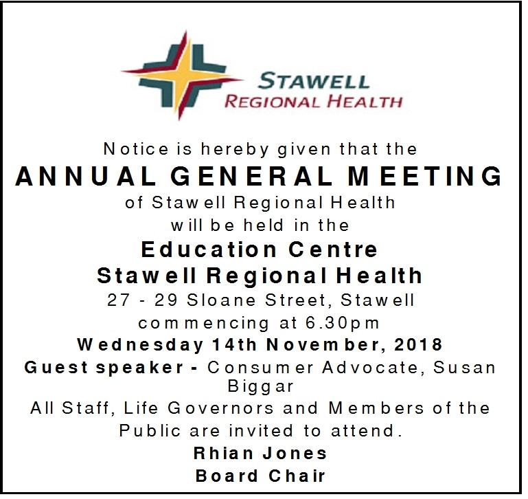 Invitation to Stawell Regional Health AGM 6.30pm 14th November