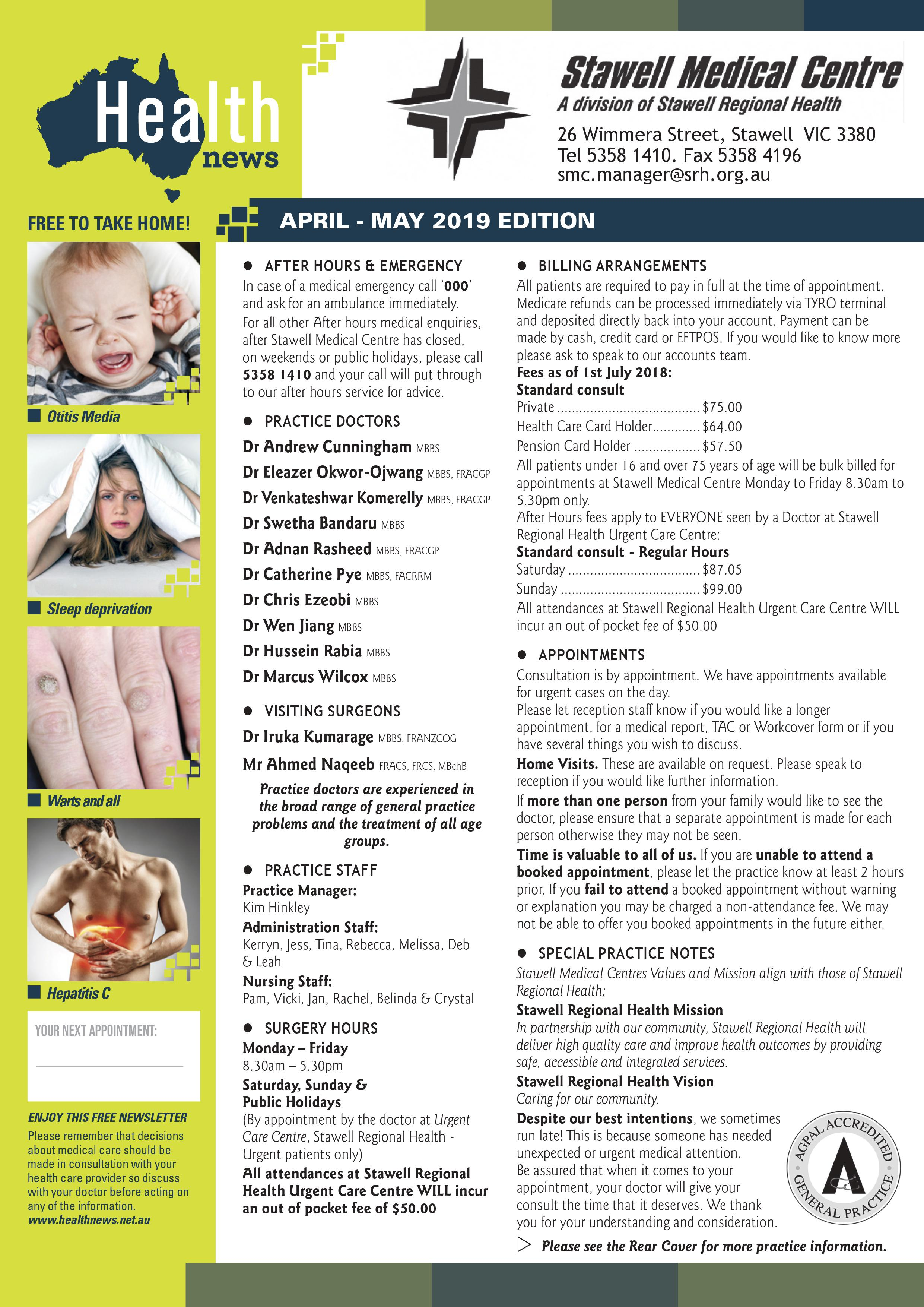 Stawell Medical Centre April News 2019