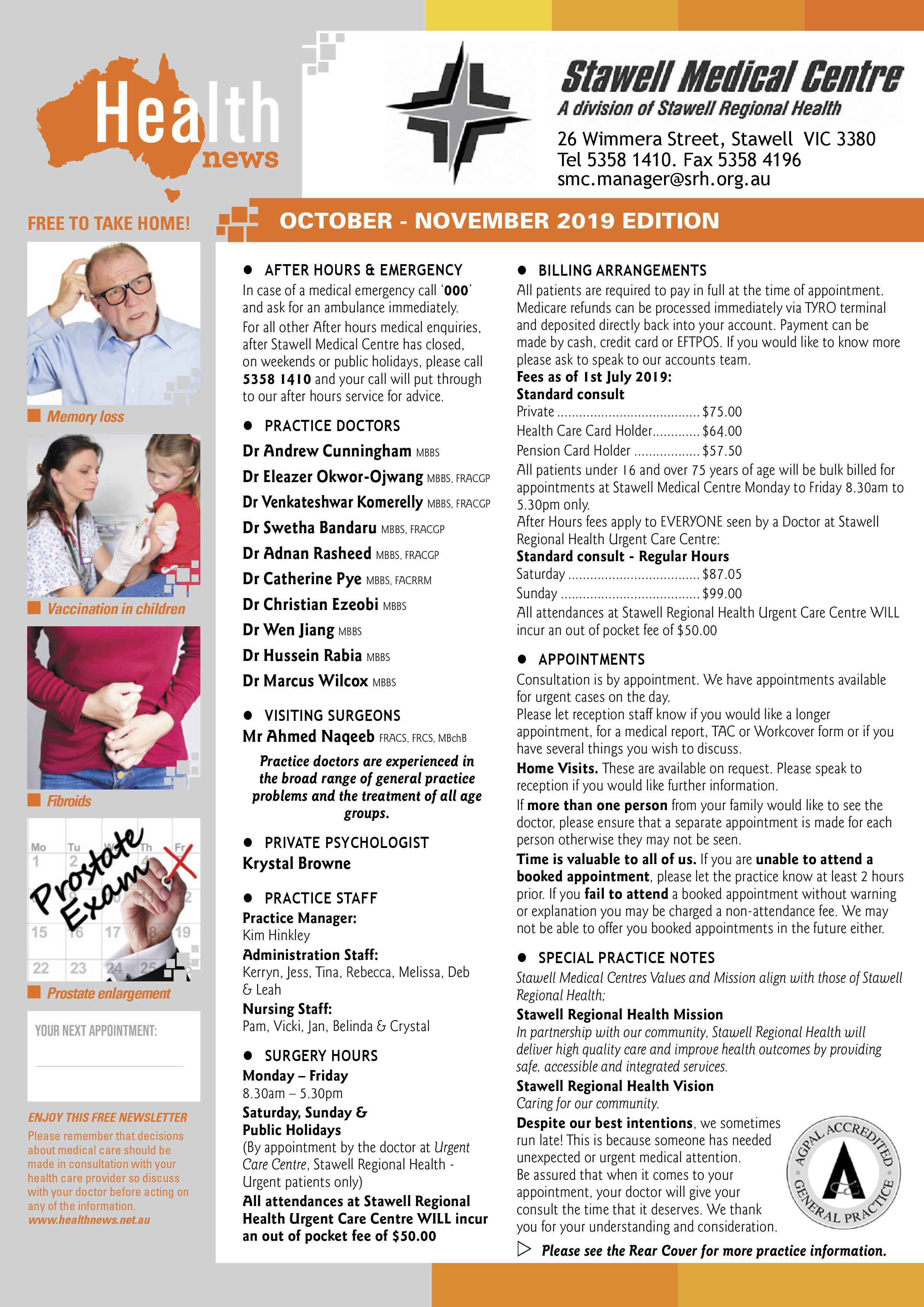 Stawell Medical Centre News October 2019
